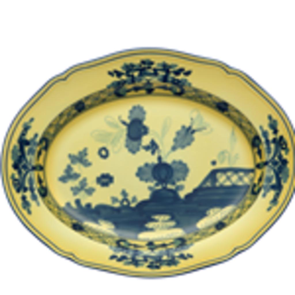 """Richard Ginori Richard Ginori Oriente Italiano Oval Platter 13.5"""" Citrino"""