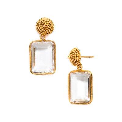 Julie Vos Julie Vos D'Argent Cap and Post Earring Clear Crystal