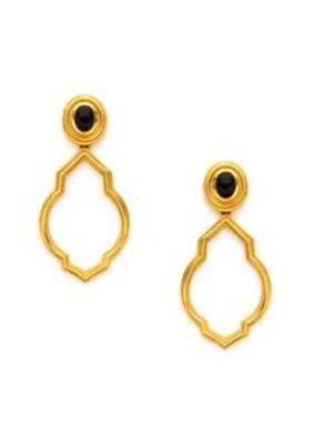 Julie Vos Julie Vos Casablanca Earrings- Gold Onyx