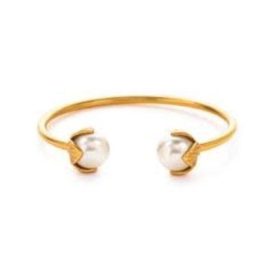 Julie Vos Julie Vos Penelope Open Bangle Gold/Pearl