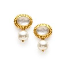Julie Vos Julie Vos Byzantine Pearl Drop Earring- Crystal