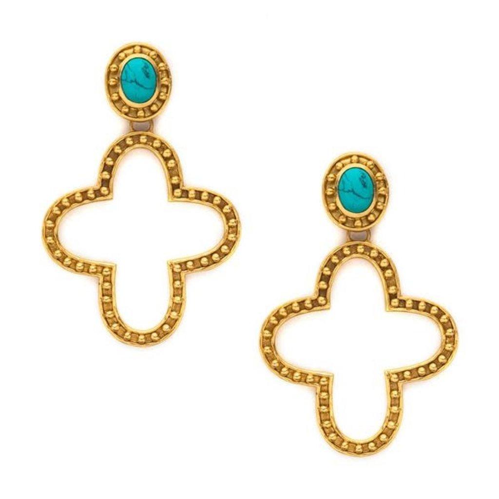 Julie Vos Julie Vos Siena Satement Earrings Turquoise