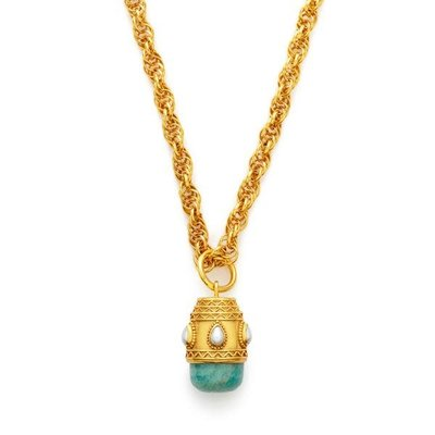 Julie Vos Julie Vos Baroque Small Pendant - Aquamarine Blue/Pearl