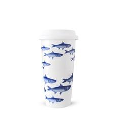 Caskata Caskata School Of Fish Blue Travel Mug with Lid