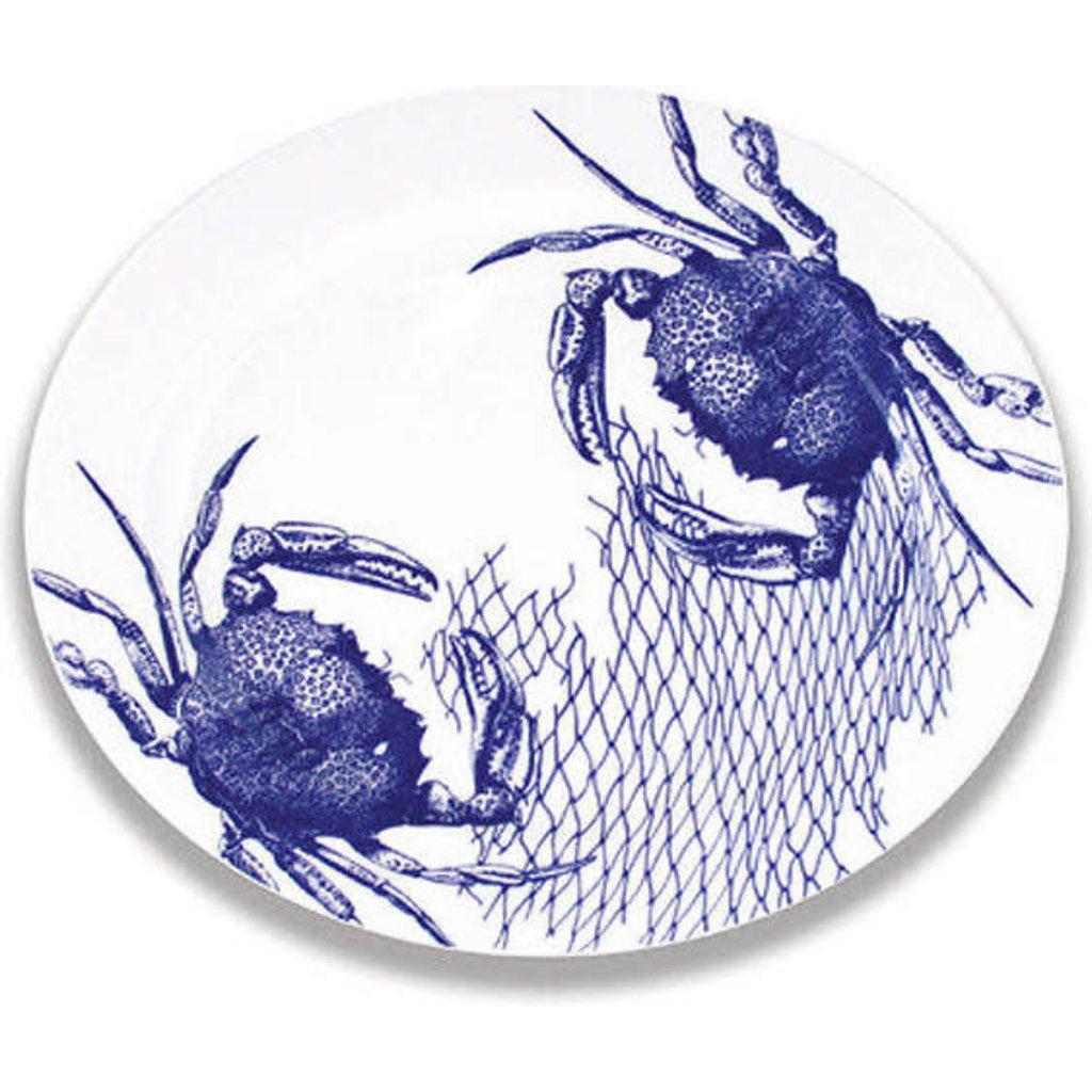 """Caskata Caskata Crabs & Nets - 16"""" Rimmed Oval Platter BLUE"""