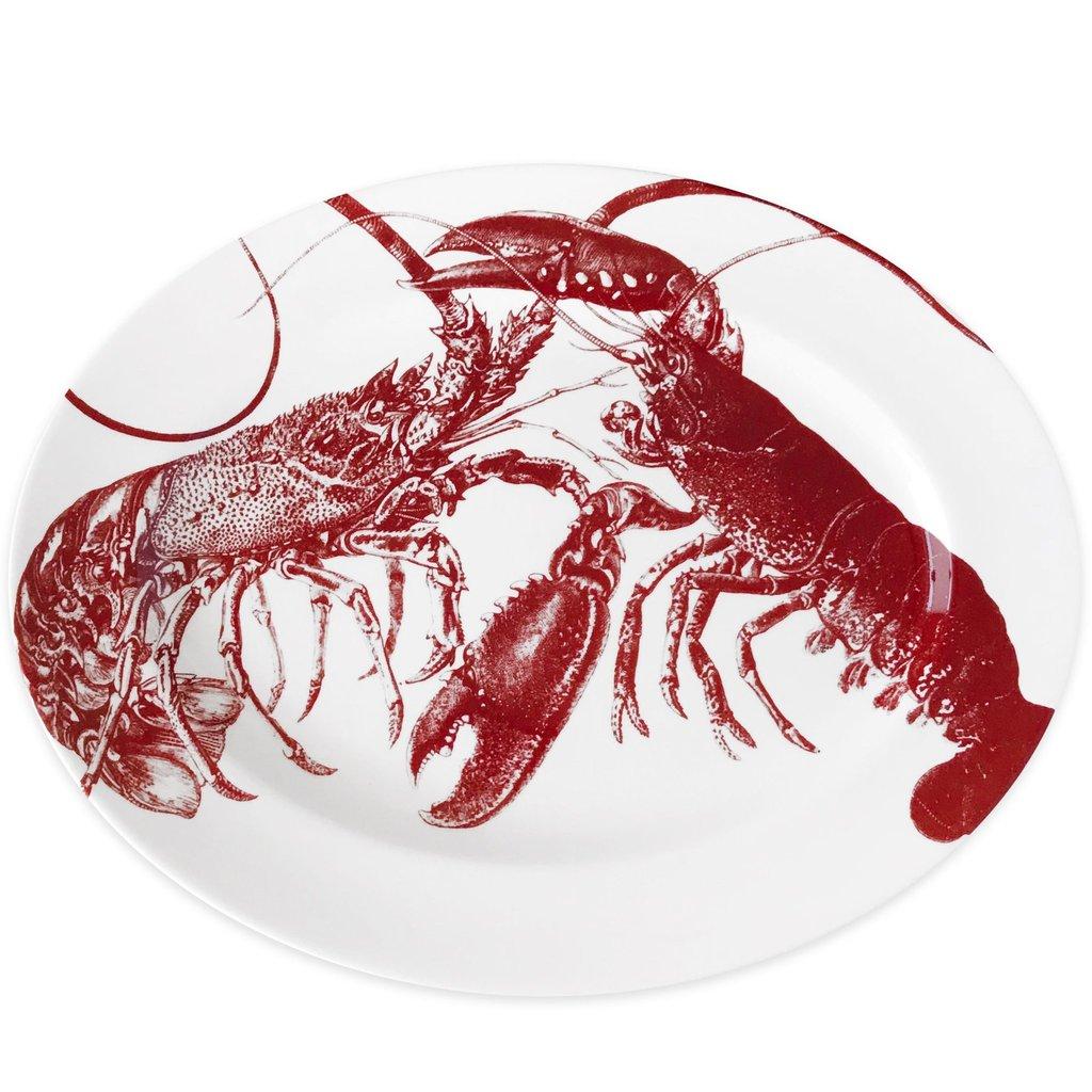 """Caskata Caskata Lobsters Red - Oval Platter 16"""""""