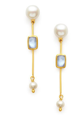 Julie Vos Julie Vos Clara Single Stone Earring Chalcedony Blue & Pearl