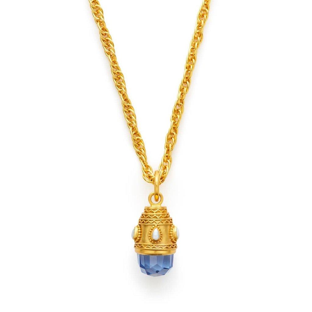 Julie Vos Julie Vos Baroque Small Pendant Necklace Faceted Chal. Blue/Pearl
