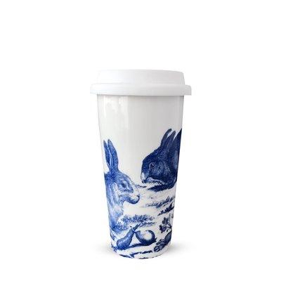 Caskata Caskata Blue Bunnies 14oz Travel Mug with Lid