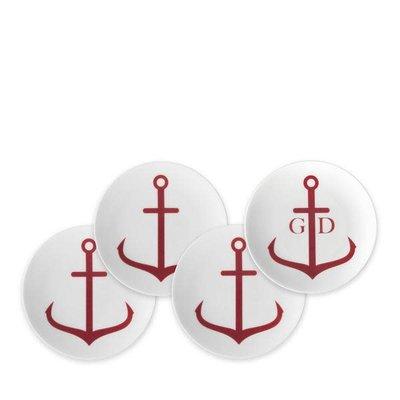 Caskata Caskata Canapé Boxed Set/4 Anchors Red