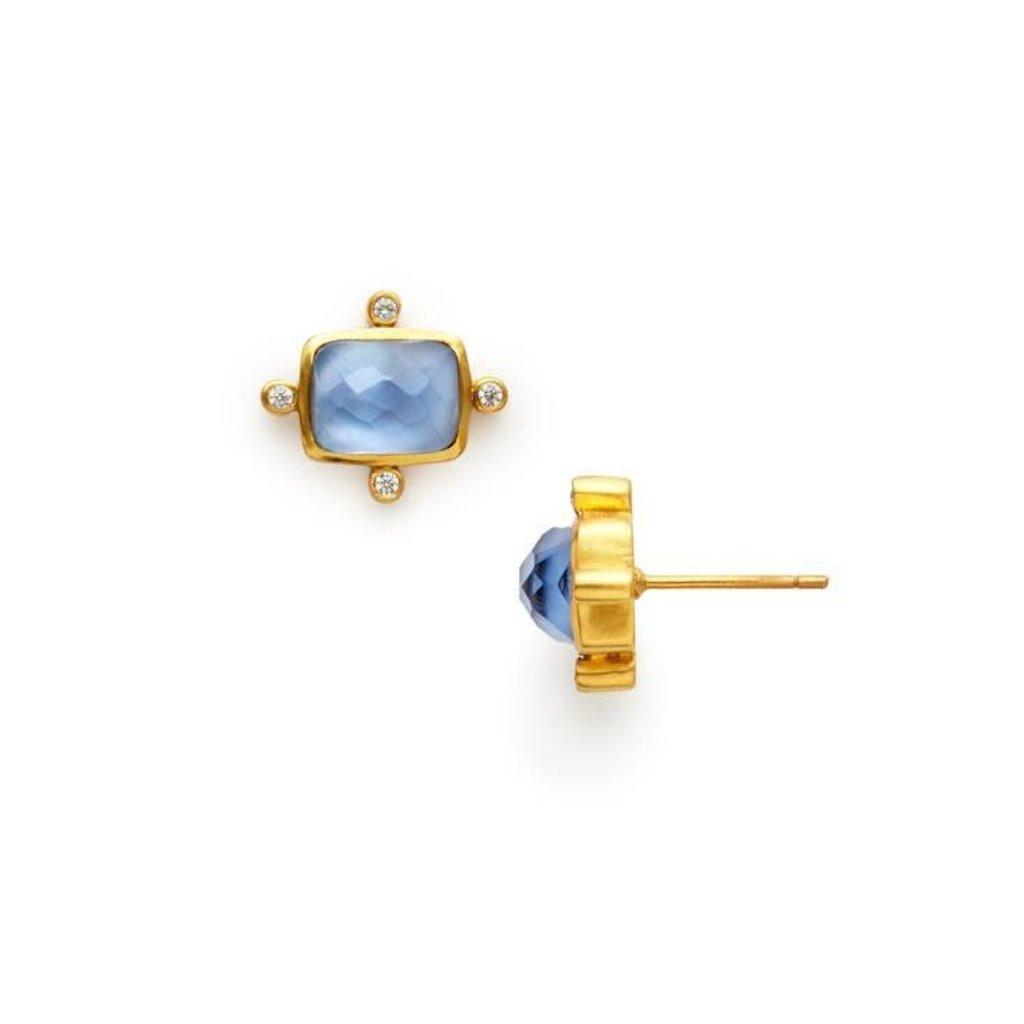 Julie Vos Julie Vos Clara Stud Earring Iridescent Chalcedony Blue