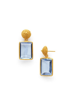 Julie Vos Julie Vos D'Argent Cap & Post Earring Chalcedony Blue