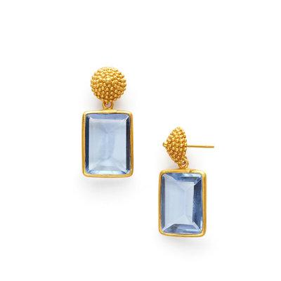 Julie Vos Julie Vos D'Argent Cap & Post Earring Chalcedony Blue