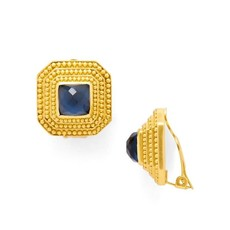 Julie Vos Julie Vos Luxor Clip-On Earrings Sapphire Blue