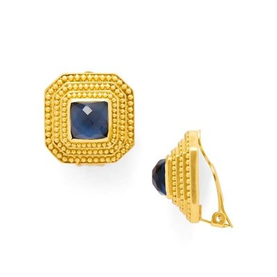 Julie Vos Julie Vos Luxor Clip-On Earrings Sapphire Blue