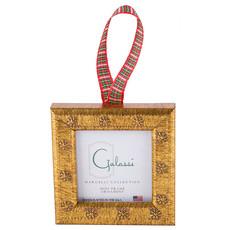 Galassi Galassi Gold Daisy w/Plaid Ribbon Frame Ornament