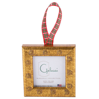 Galassi Galassi Gold Daisy w/Plaid Ribbon Frame Ornament