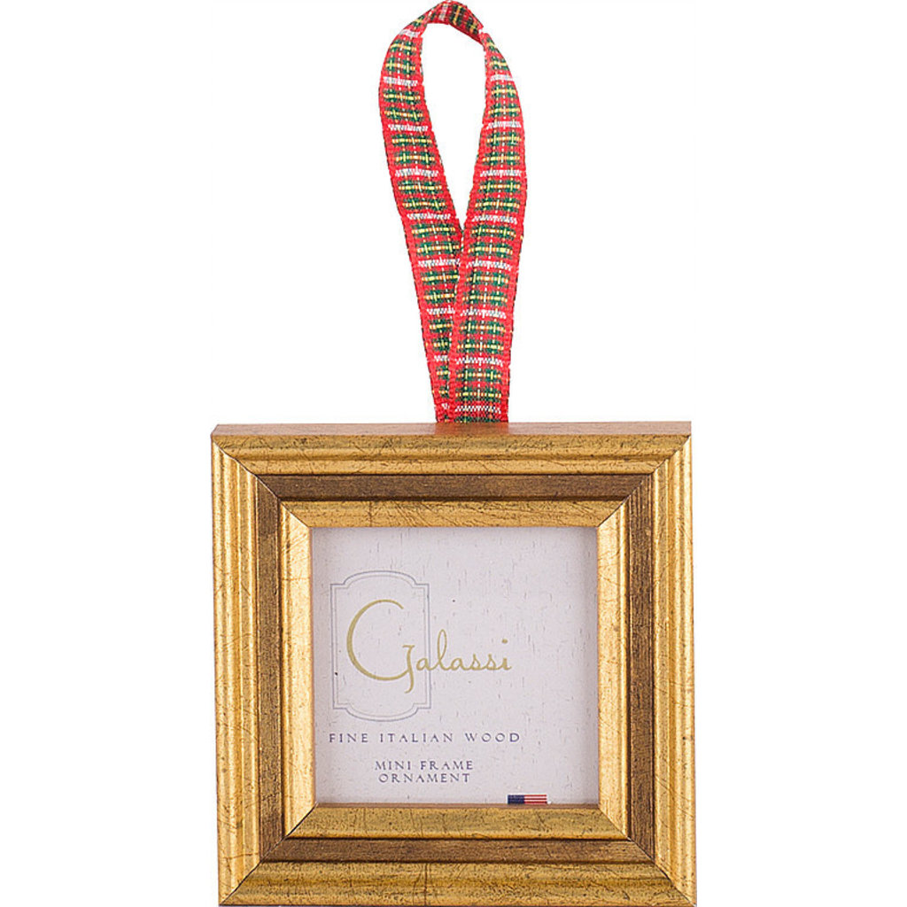 Galassi Galassi Gold Channel w/Plaid Ribbon Frame Ornament