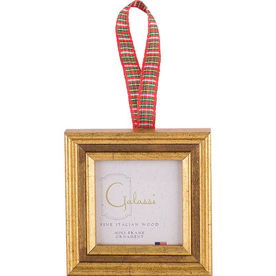 Galassi Galassi Gold Channel w/Plaid Ribbon Frame Ornament