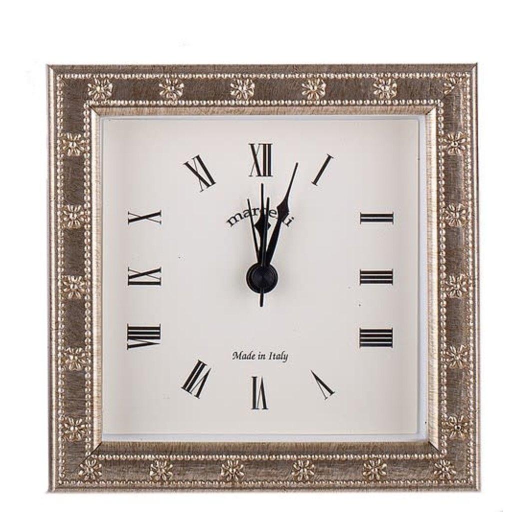 Galassi Galassi Marcelli Thin Silver Daisy Clock 4x4