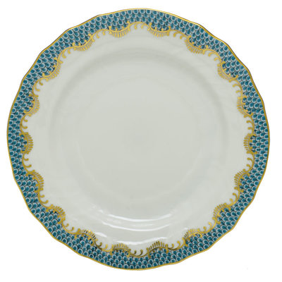 Herend Herend Fishscale B&B Plate- Turquoise