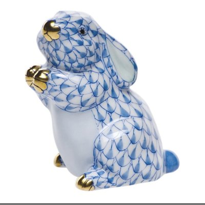 Herend Herend Pudgy Bunny- Blue