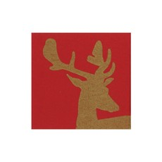 Caspari CASPARI ALPINE STAG RED COCKTAIL NAPKINS