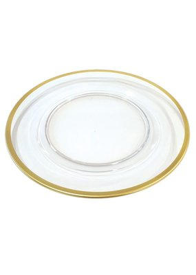 Caspari CASPARI ACRYLIC PLATE CHARGER-CLEAR W/GOLD RIM