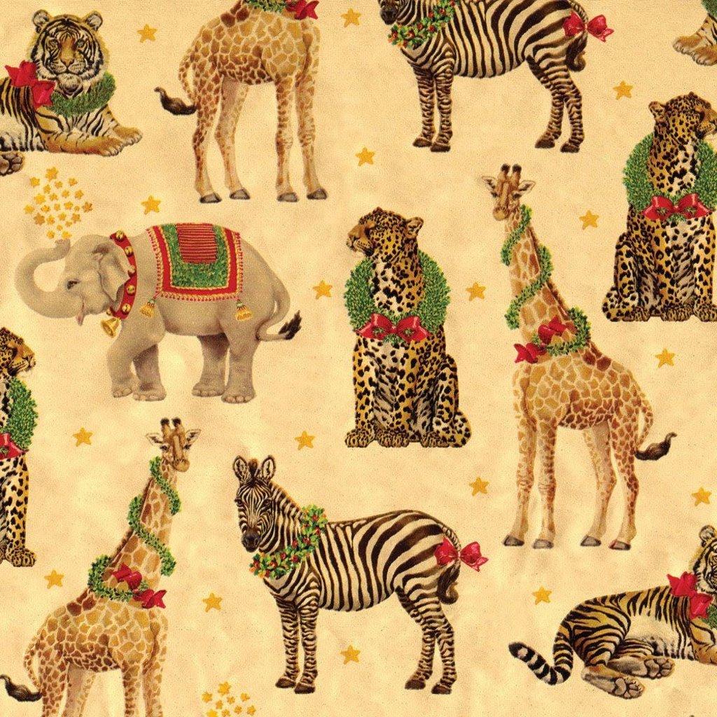 Caspari Caspari Wrapping Paper - Wild Christmas Gold Foil - 8 Ft Roll