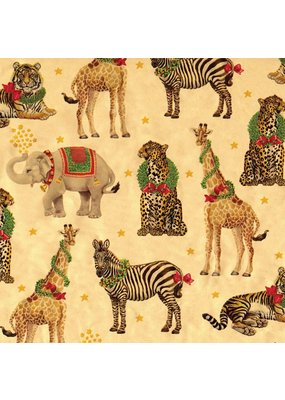 Caspari CASPARI WILD CHRISTMAS GOLD FOIL CONTINUOUS WRAP ROLL - 8 FT