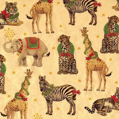 Caspari WILD CHRISTMAS GOLD FOIL CONTINUOUS WRAP ROLL - 8 FT