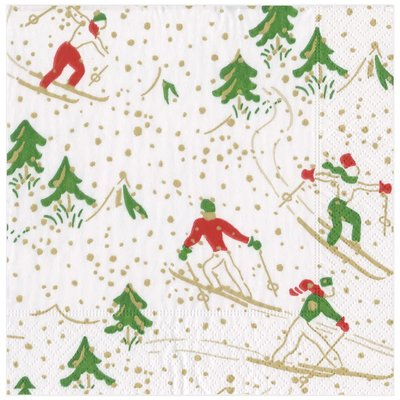Caspari CASPARI WINTER SPORTS WHITE CONTINUOUS GIFT WRAP ROLL - 8 FT