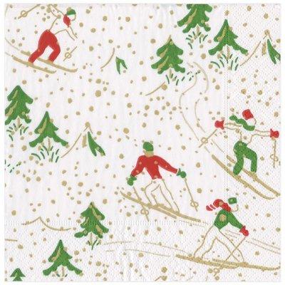 Caspari Caspari Wrapping Paper - Winter Sports White - 8 Ft Roll