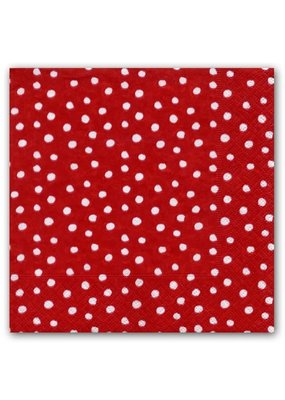 Caspari CASPARI SMALL DOTS RED NAPKIN COCKTAIL