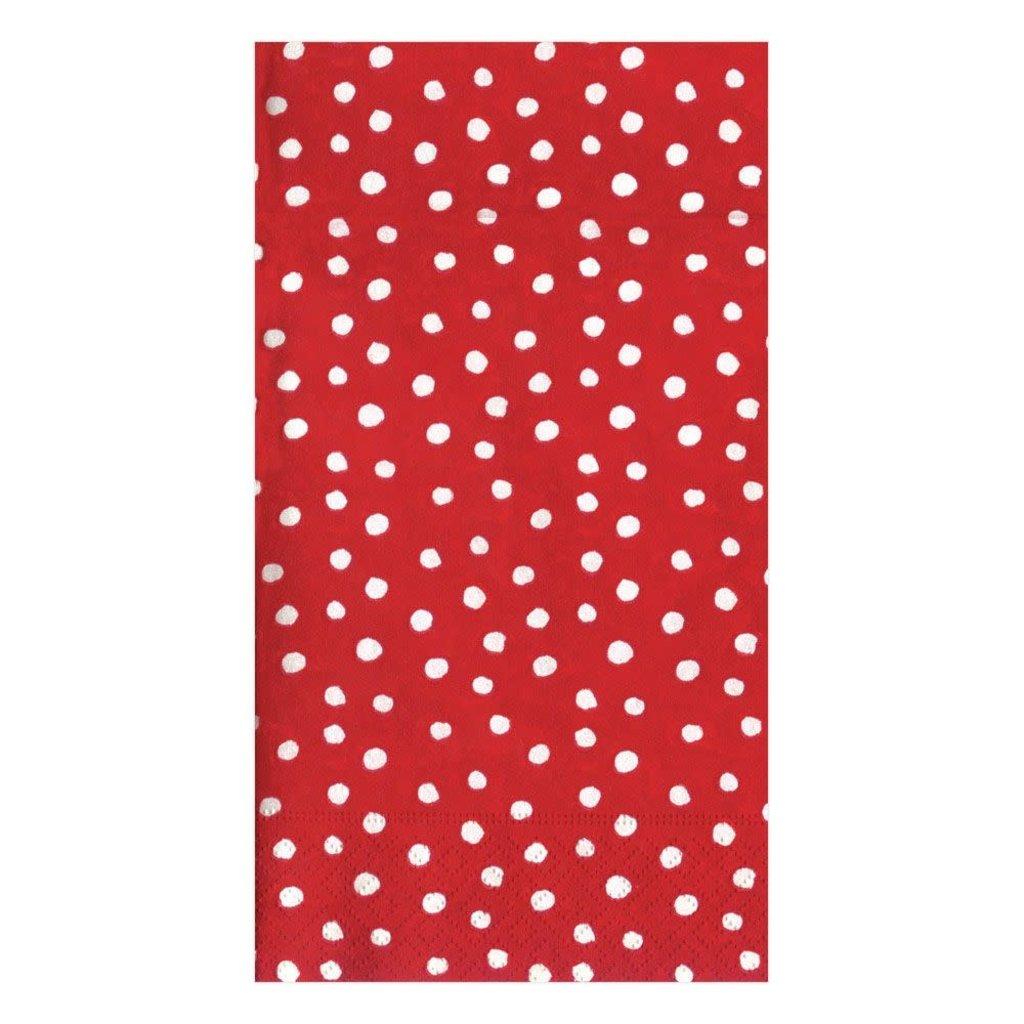 Caspari CASPARI SMALL DOTS RED GUEST TOWEL