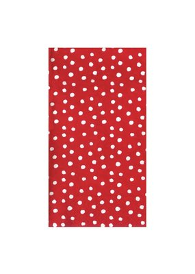 Caspari CASPARI SMALL DOTS RED GUEST TOWEL