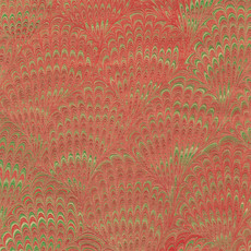 Caspari CASPARI MARBLEIZED RED/GREEN FOIL CONTINUOUS WRAP ROLL - 8 FT