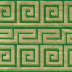 Caspari CASPARI GREEK MEANDER GREEN/GOLD FOIL CONTINUOUS GIFT WRAP ROLL - 8 FT