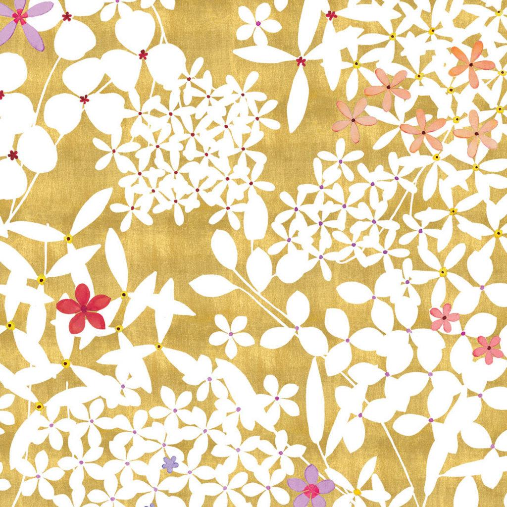 Caspari CASPARI FLORAL LACE GOLD GIFT WRAP ROLL 2 FULL SHEETS