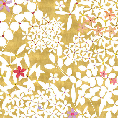 Caspari CASPARI FLORAL LACE GOLD GIFT WRAP ROLL 2 FULL SHEETS