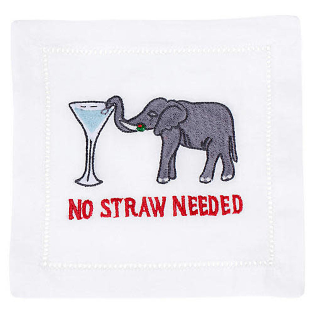 August Morgan August Morgan S/4 Cocktail Napkins -No Straw Needed