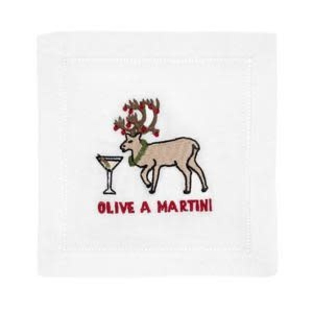 August Morgan August Morgan S/4 Cocktail Napkins -Olive a Martini
