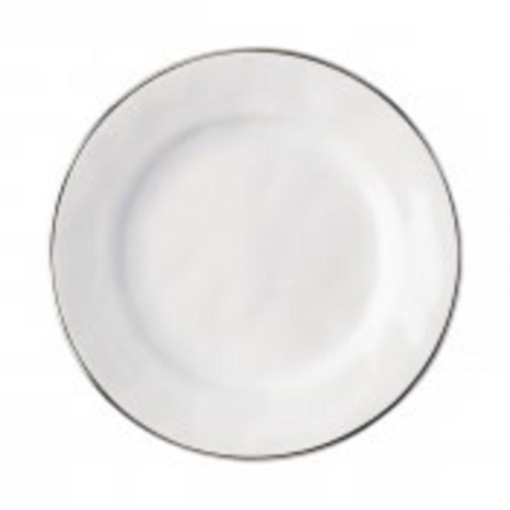 Juliska Juliska Puro Dinner Plate- Whitewash w/Platinum Rim