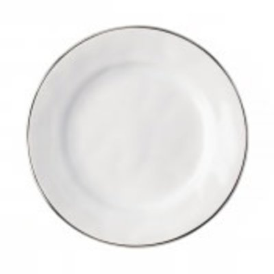 Juliska Juliska Puro Dinner Plate- Whitewash w/Platinum Rim