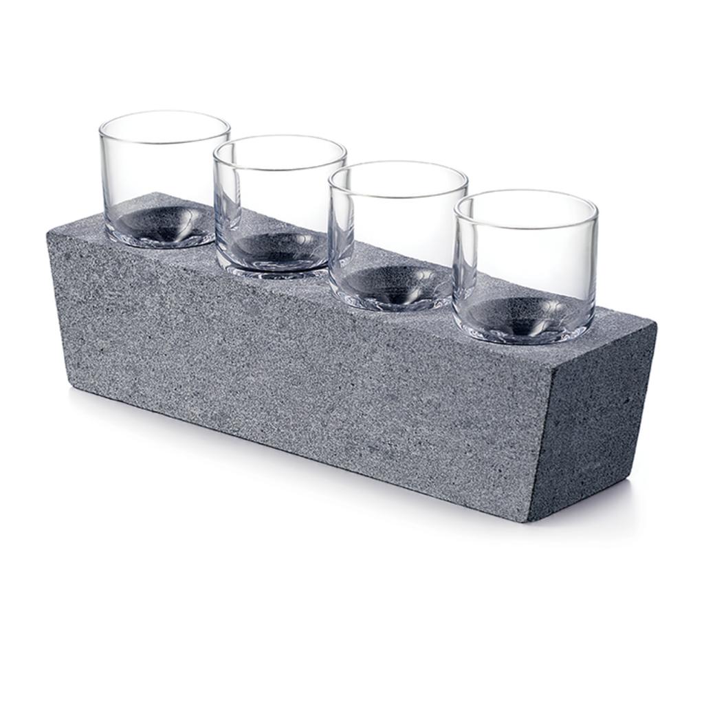 Simon Pearce SIMON PEARCE ALPINE VODKA GLASS W/ SOAPSTONE BASE SET/ 4
