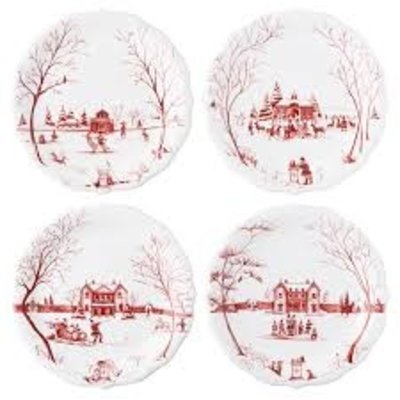 "Juliska Juliska CE Winter Frolic ""Mr. & Mrs. Claus"" Ruby Party Plates Set/4"