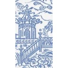 Caspari CASPARI PAGODA TOILE BLUE GUEST TOWEL