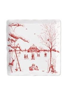 "Juliska Juliska CE Winter Frolic ""Mr. & Mrs. Claus"" Ruby Sweets Tray"