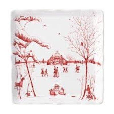 "Juliska Juliska CE Winter Frolic ""Mr. & Mrs. Claus"" Ruby Sweets Tray"