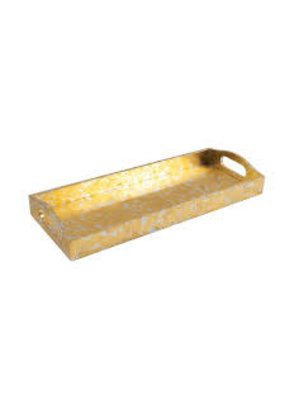 Caspari CASPARI GOLD AND SILVER LEAF BAR TRAY